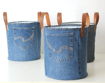 medium storage basket made of old jeans - laundry basket - XXL basket - toy bin - storage - basket canvas