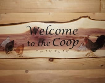 Rustic Welcome Sign, Chicken Welcome Sign, Rustic Wood Sign, Rooster Decor, Chicken Sign, Welcome Sign, Welcome To The Coop Sign