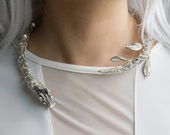Sterling Silver Plated Daenerys Dragon Necklace. Silver Dragon Choker. Dragon Statement Necklace. Fantasy Jewelry. Gifts for Cosplayers.