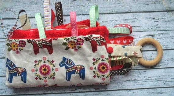 Baby tag blanket scandinavian minky tag blanket scandinavian tag blanket red sensory toy baby boy girl blanket wooden ring newborn taggie