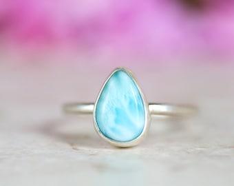 Larimar Ring, Blue Gemstone Ring, Larimar Pear Shape Silver Ring