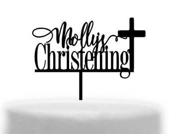 Personalised  Christening cake topper with Cross