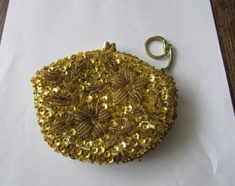 Vintage Evening Coin Purse Gold Sequin Glass Bead Evening Bag with Key Chain
