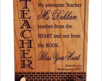 Custom Pre-K Kindergarten Teacher Plaque Gift, Teacher Thank you Gift, Personalized Teacher Gift, Gift for Teacher, Teachers Gift, PLT010