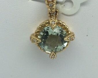 14K Yellow Gold Natural Green Amethyst and Diamond Pendant