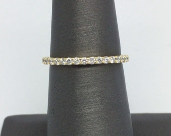 14K Yellow Gold Share Prong Natural Diamond Eternity Band