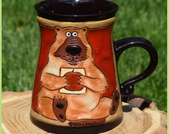Pottery Мug Bear 02, Ceramic Cup, Coffee Cup, Teacup, Handmade Ceramics and Pottery, Animals Cup, Relief Gravure