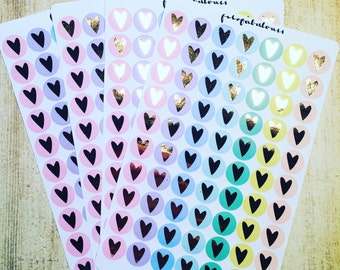 Pastel Heart Foil Planner Stickers Gold