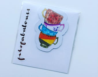 Colourful Tea Cups Magnetic Book Mark - Page Marker