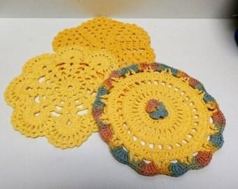 Handmade set of 3 Yellow and Gold Circular Crochet Trivet Potholder