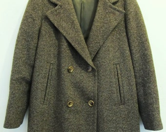 A Women's,Vtg 70's Brown Double Breasted Wool TWEED Coat By LORENDALE .L