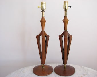 DANISH Pair Mid-Century Modern Wood Base TABLE LAMP Teak/Walnut Desk/Nightstand