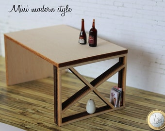 Wooden table/desk with bookcase in scale 1:12 for dollshouse (Cod. M003)