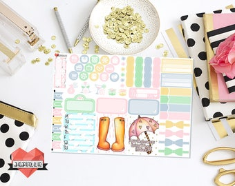 April Showers Mini Kit for use in your Erin Condren Planner, Happy Planner, etc.