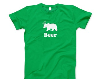 Beer Bear Deer Shirt T New Funny St Patricks Day Saint Paddys Irish Green T-Shirt
