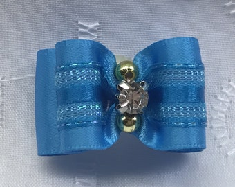 Dog Bow - 5/8 Turquoise with Rhinestone