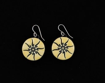 Porcelain Dangle Earrings Sunburst Pattern Yellow Color Handmade with .925 Sterling Silver Earwires