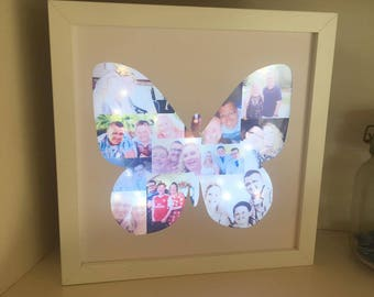 Butterfly Light Up Box Frame, Light Up Photo Frame, Photo Collage, LED Frame