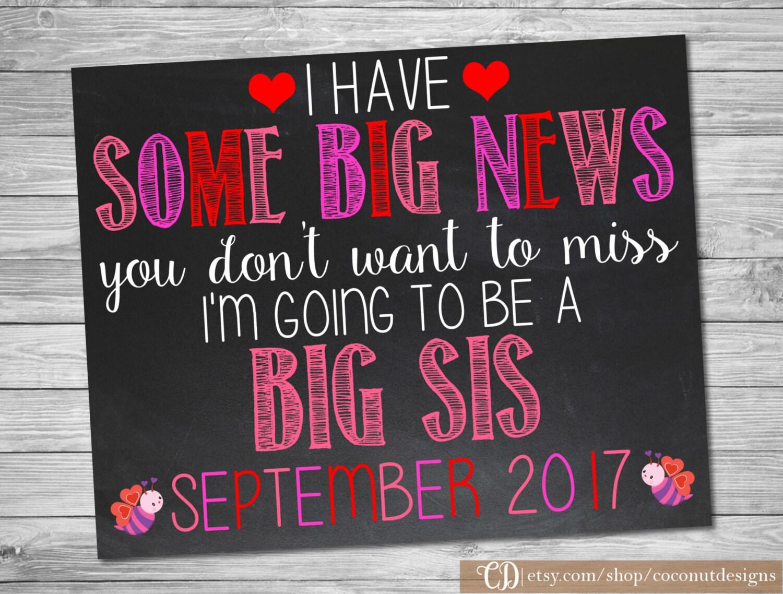 Valentineu0027s Day Big Sister Pregnancy Announcement / Pregnancy Chalkboard / Pregnancy  Announcement Sign / Digital File