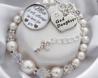 Gift for goddaughter etsy swarovski goddaughter bracelet baptism gift christening gift goddaughter jewelry gift for goddaughter gift from godfather gift negle Choice Image