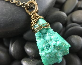Green Agate Stone Wire Wrapped Pendant