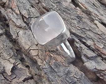 Rose Quartz Ring- Solitaire Ring- Rose Quartz Silver Ring- 925 Silver Ring-  Handmade Gift Ring- US Ring Size 7