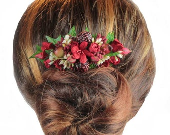 Berry Hair Comb, Winter Wedding Hair Comb, Autumnal Wedding, Floral Hair Comb