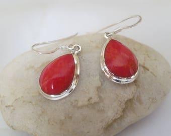 Coral  earrings, 92.5 sterling silver tear drop shape, free shipping