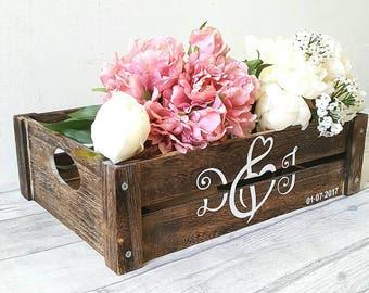 wedding wooden box, rustic wedding, wooden crate, brown wooden box, wedding decor, memory box, vintage wedding, flower box, wedding box