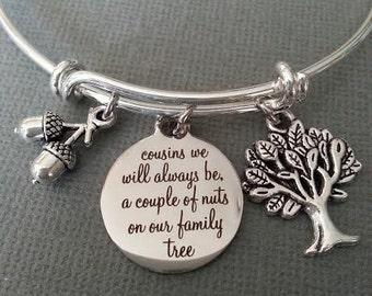 Cousins We Will Always Be A Couple of Nuts on Our Family Tree Bracelet / Cousin Bracelet / Acorn Bracelet