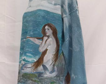 Hand Made Mermaid Jumper Hand Painted on Indigo 100% Cotton Jumper 12-16