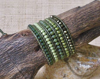 Beaded Leather Wrap Bracelet: Green Mix/5 Wrap Bracelet/Olive Wrap Bracelet/Jade Wrap Bracelet/Gift for Her/3rd Anniversary/Boho Chic/OOAK