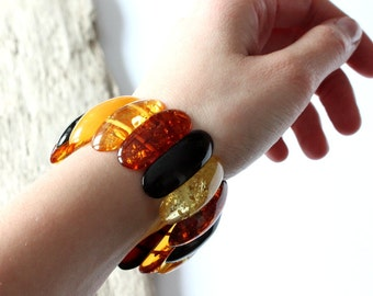 Multicolor amber bracelet, massive amber bracelet, amber jewelry, genuine Baltic amber, large amber bracelet, bracelet for woman, jewellery