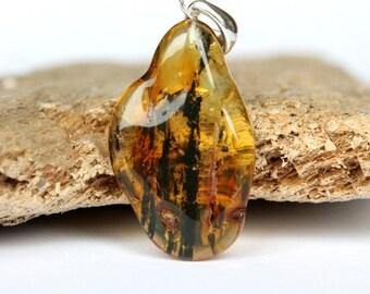 Lemon amber pendant, genuine Baltic amber, amber jewelry, Baltic amber jewelry, amber jewellery, transparent amber bead, amber and silver