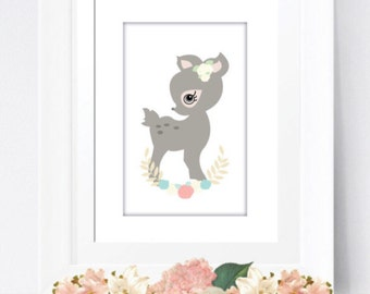 A4  deer print girls decor wall art