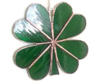 Stained Glass 4 Leaf Lucky Clover Suncatcher 15cm