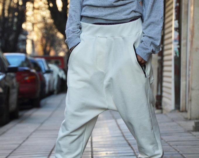 Drop Crotch Cotton Pants, Loose Harem Pants, Extravagant Off White Pants, Maxi Trousers, Unique Side Zipper Pockets By SSDfashion