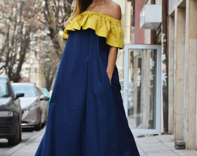 Women's Extravagant Ruffle Blue Dress, Summer Cotton Dress, Off-shoulder Maxi Dress, Loose Dress By SSDfashion