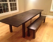 Dark Walnut Farm Table wi...