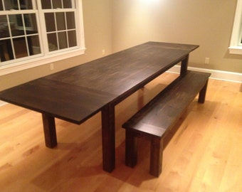Dark Walnut Farm Table with Extensions