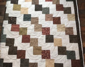 Queen Quilt Circa 1800s Print, Warm Browns and Earth Tones - Homemade - Free Shipping
