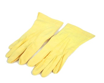 Yellow Cotton Wrist Gloves, Signed Pinkhaus Made In England , Size 7