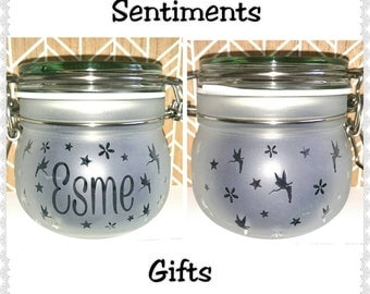 Personalised Engraved Fairy Jar with Led Lights