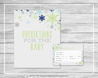 Winter Baby Shower Predictions for Baby - Printable Baby Shower Predictions for Baby - Baby It's Cold Outside Shower - Predictions - SP142