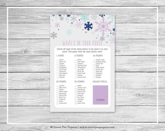 Winter Baby Shower What's In Your Purse Game - Printable Baby Shower What's In Your Purse Game - Baby It's Cold Outside Baby Shower - SP143