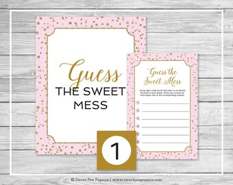 Pink and Gold Baby Shower Guess The Mess Game - Printable Baby Shower Guess The Sweet Mess Game - Pink and Gold Confetti Baby Shower - SP145