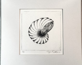 Untitled abstract, one-color drypoint/intaglio fine art print