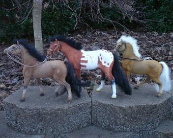 Set of Three Flocked Horses Fuzzy Plastic