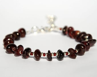 Genuine Garnet Bracelet January Birthstone Jewelry Natural Garnet Jewelry Birthday Jewelry Gemstone bracelet Healing bracelet gift for her
