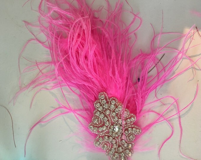 dance costume hair accessory, ostritch and rhinestone applique hair accessory